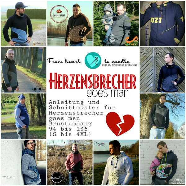 "eBook - ""Herzensbrecher goes men"" - Hoodie/Longpulli - From Heart to Needle - Glückpunkt."