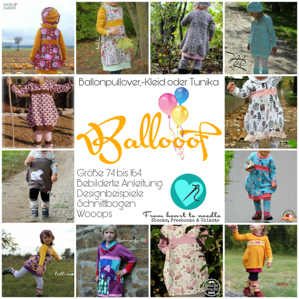 "eBook - ""Ballooof"" - Ballonpullover, -kleid oder -tunika - From Heart to Needle - Glückpunkt."