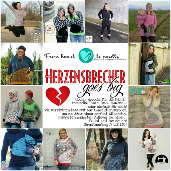 "eBook - ""Herzensbrecher goes Big"" - Hoodie/Longpulli - From Heart to Needle"