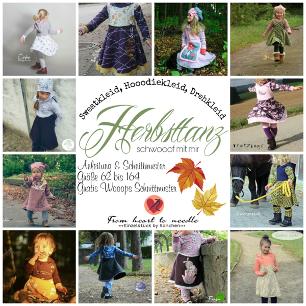 "Kombi-eBook - ""Herbsttanz & Pooof"" - Kleid & Mütze - From Heart to Needle - Glückpunkt."