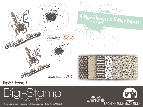 "DigiStamp - ""Hipster Bunny"" - Alpwind"