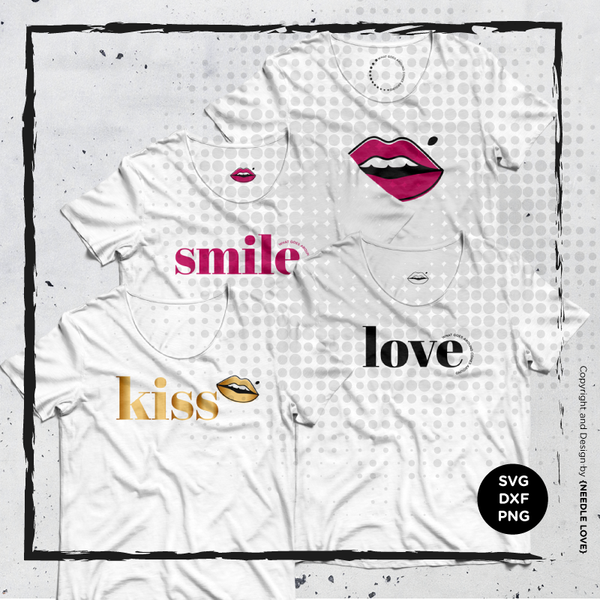 "Plotterdatei ""Smile, Kiss, Love"" - Needle Love - 1 Einzelmotiv mit Details Dateiformat: SVG, DXF und PNG Die Plotterdatei SMILE 