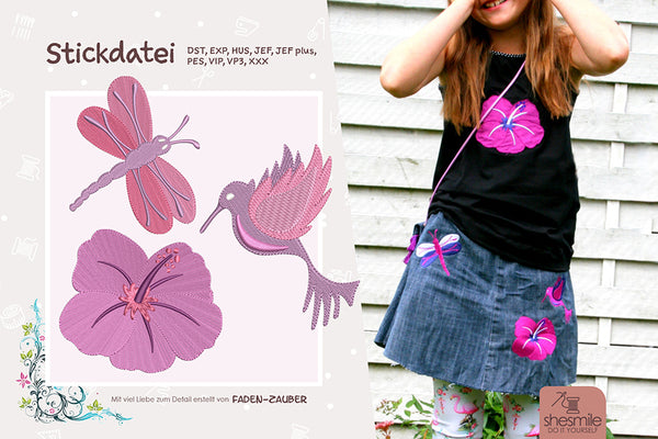 "Stickdatei - ""Libelle, Hibiskus und Kolibri"" - Shesmile, Do it yourself - Glückpunkt."