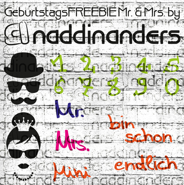 "Plotterdatei - ""Mr.+Mrs Geburtstags-Freebie"" - naddinanders"