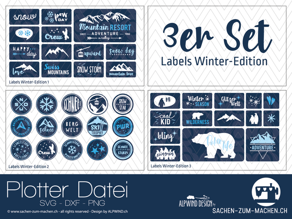 "Plotterdatei - ""Labels Winter-Edition #1-3"" - 3er-Set - Alpwind"