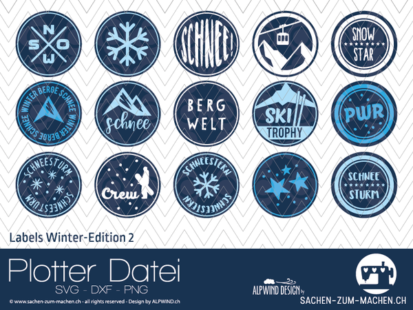 "Plotterdatei - ""Labels Winter-Edition #2"" - Alpwind"