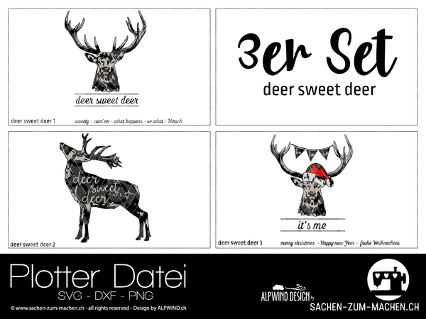 "Plotterdatei - ""deer sweet deer #1-3"" - 3er-Set - Alpwind"