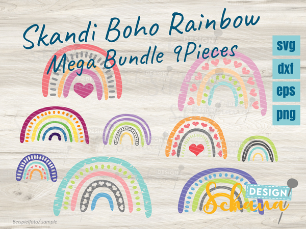 "Plotterdatei - ""Boho Rainbow 9er-Set"" - Schana Design"