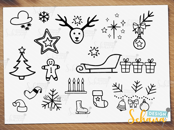 "Plotterdatei - ""Christmas Doodle Bundle 1"" - Schana Design"