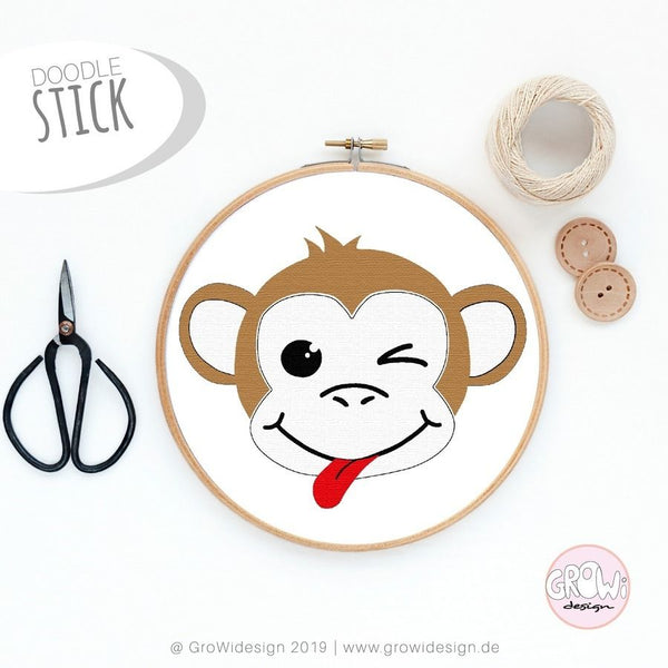 "Stickdatei ""Monkey"" Growidesign - 13×15 – 22240 Stiche 