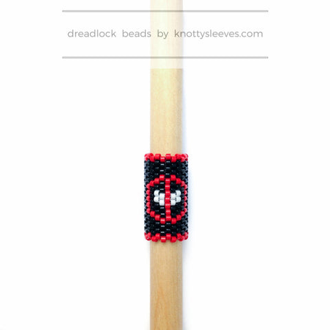 Deadpool Dread Bead - Knottysleeves Dread Beads and Dreadlock Accessories