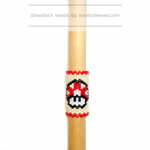 Super Mario Mushroom Dread Bead - Knottysleeves Dread Beads and Dreadlock Accessories