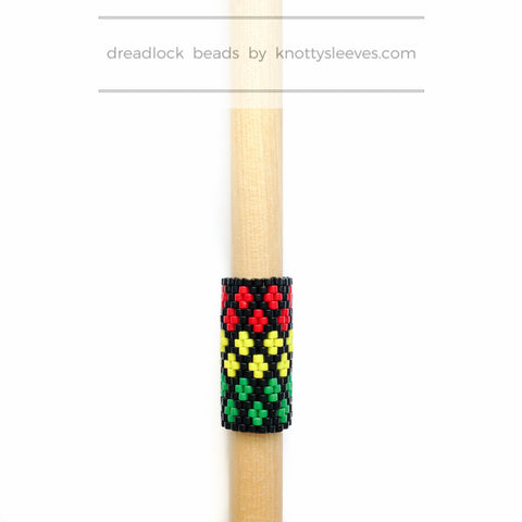 Rasta Lines Loc Cuff - Knottysleeves Dread Beads and Dreadlock Accessories