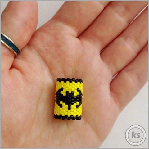 Batman Peyote Stitch Dread Bead - Knottysleeves Dread Beads and Dreadlock Accessories