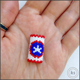 Captain America Dread Bead - Knottysleeves Dread Beads and Dreadlock Accessories