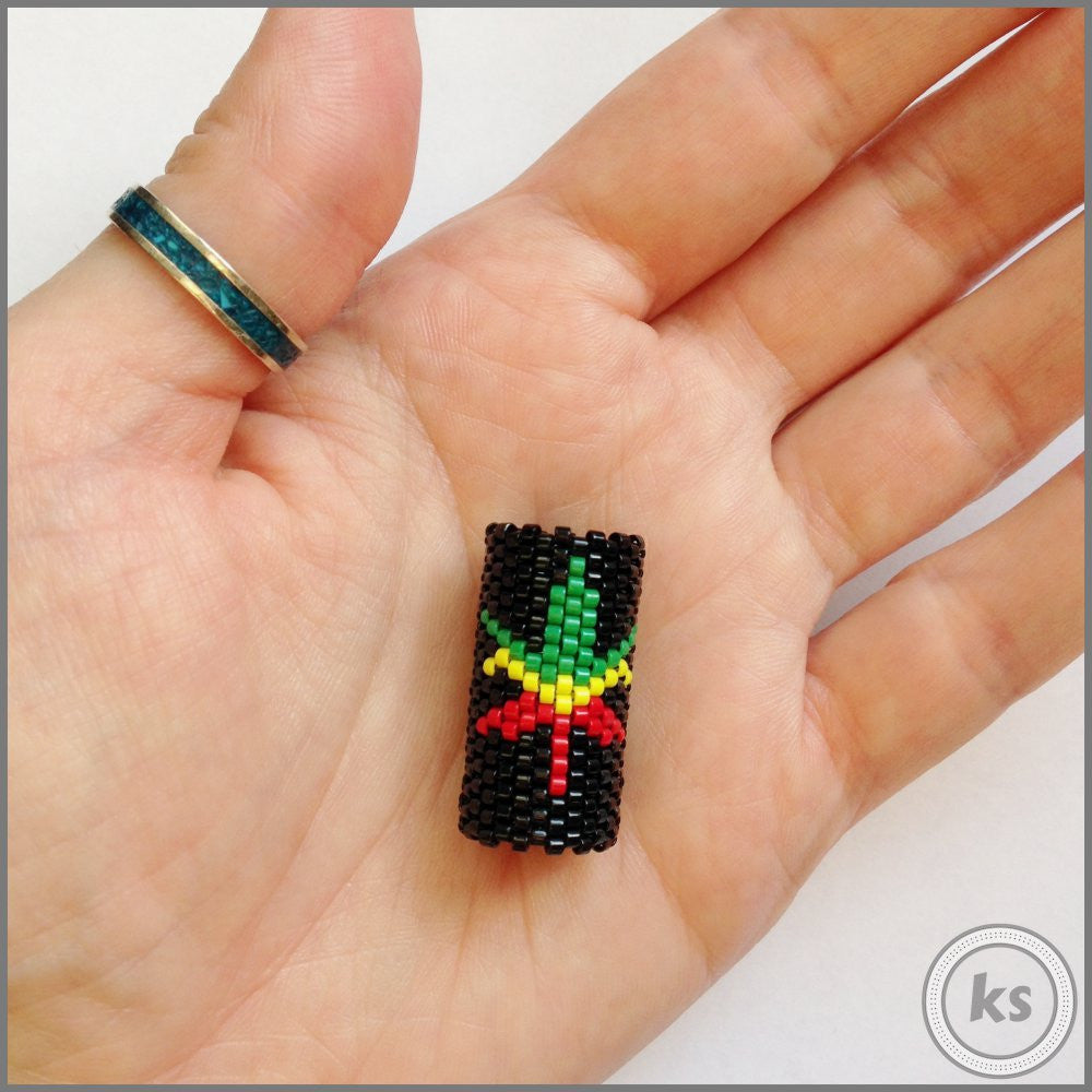 Rasta 420 Pot Leaf Dread Bead - Knottysleeves Dread Beads and Dreadlock Accessories