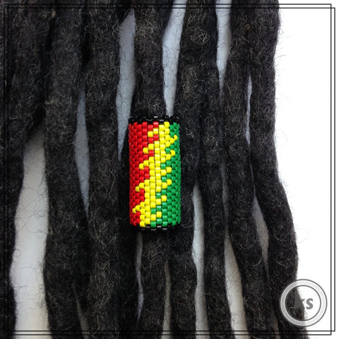 Rasta Stealie Grateful Dead Dread Bead - Knottysleeves Dread Beads and Dreadlock Accessories