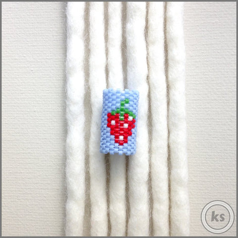 Strawberry Dread Bead - Knottysleeves Dread Beads and Dreadlock Accessories