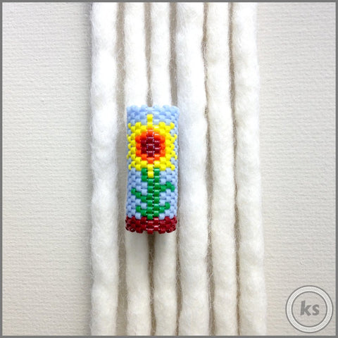 Sunflower Dread Bead - Knottysleeves Dread Beads and Dreadlock Accessories