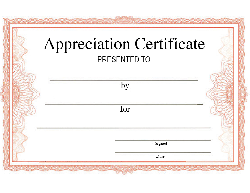 Appreciation Certificate For Staff (Pack of 20)