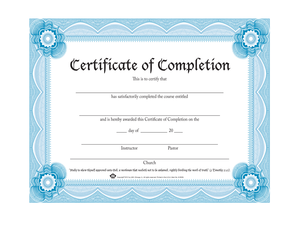 Certificate of Completion (Pack of 20)