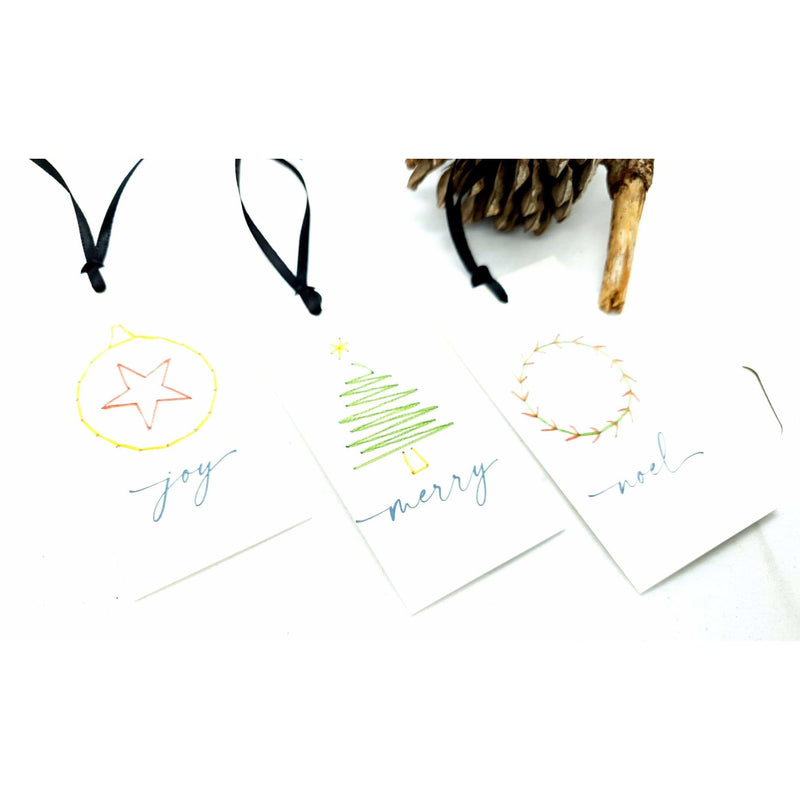 Christmas Gift Tags Embroidered White