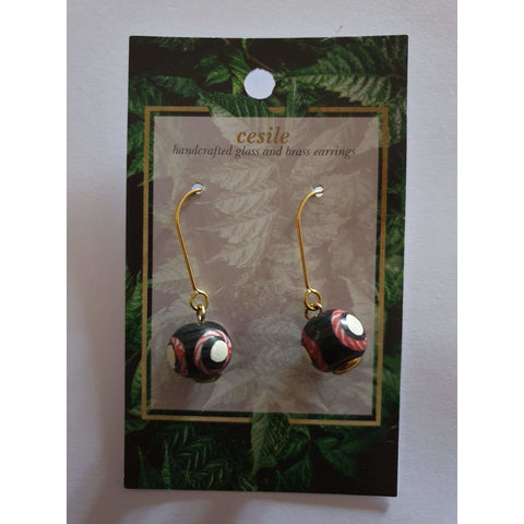 Earring Glass on Brass Drop by Cesile