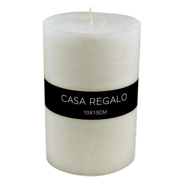 Candle Pillar White 10x15cm