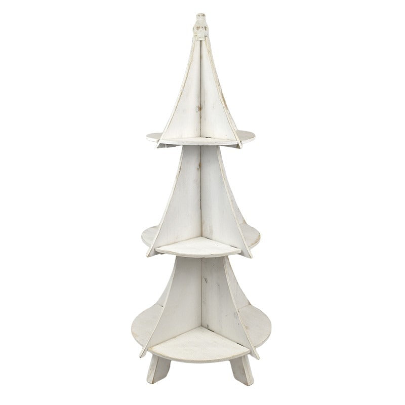 Christmas Tree White Wash Wooden Decorator