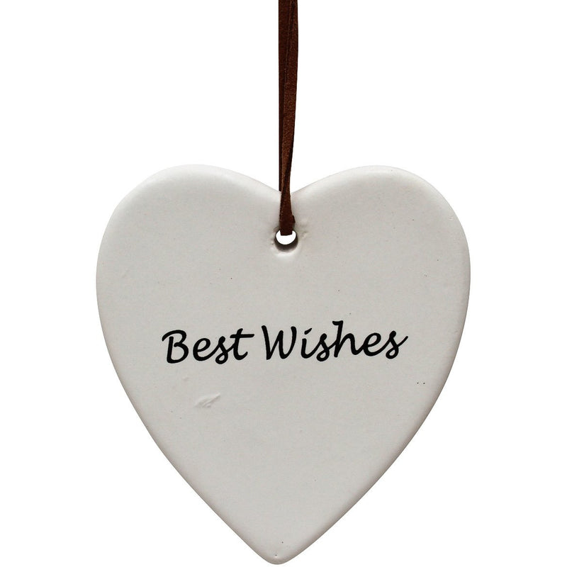Hanging Ceramic Heart - Finch Best Wishes