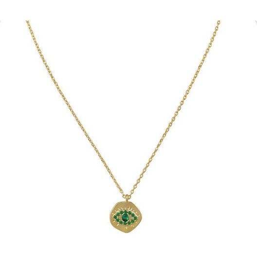 Gold Green Eye Necklace