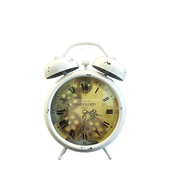 Clock Newton Bell Exposed Gear -White