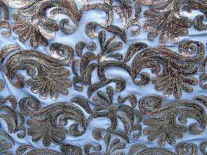 Non Stretch Paisley Sequin