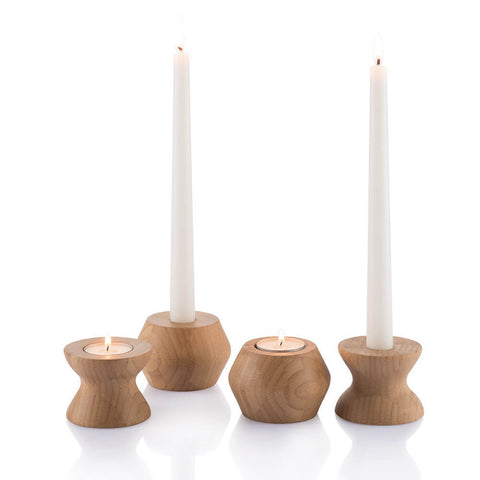 bamboo candle holders with tapers and tea lights