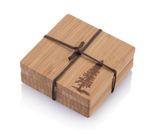 bamboo coaster with pine tree motif set of 4