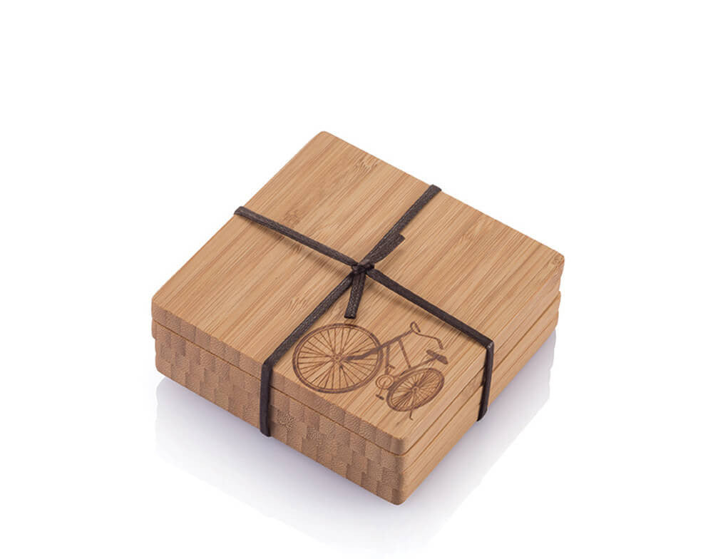 bamboo coaster with bike motif set of 4