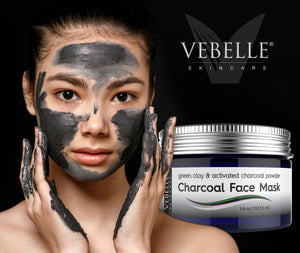 Green Clay Mud Mask & Charcoal Face Mask by VEBELLE Skincare