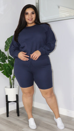 On a Break 2Pc Set (Navy)