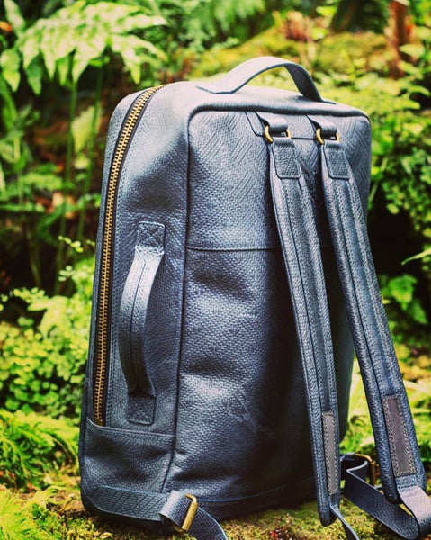 Limited Edition- Embossed Leather backpack - Deep Payne's Gray
