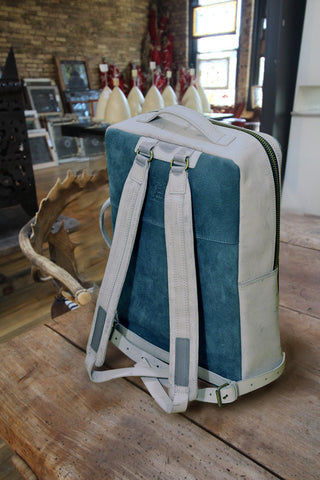 Leather backpack - Alcohol Washed Teal and Gray