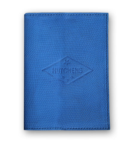 leather Passport Book - Blue Emboss