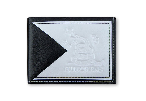 Leather Card Wallet - Black and White