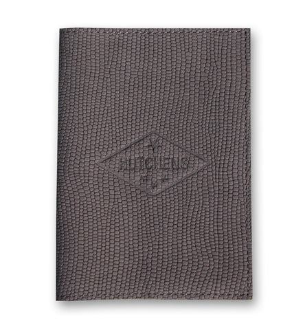 Leather Passport Book - Embossed Deep Gray