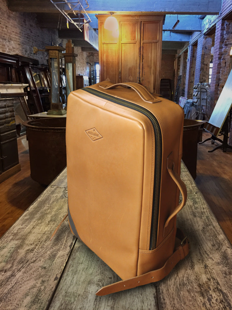 Leather backpack - Smooth Gold Ochre