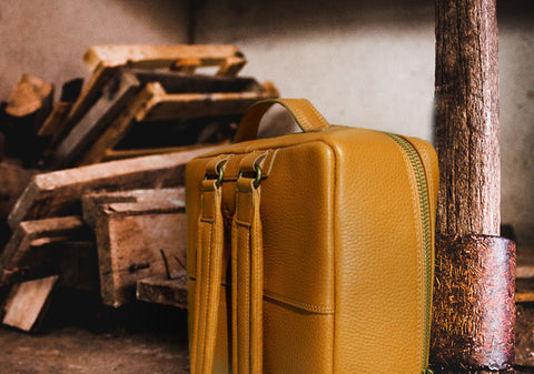 Leather backpack - Embossed Gold Ochre