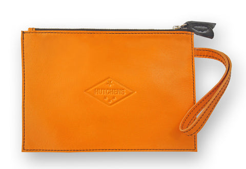 Admin Case - Orange and black leather pouch