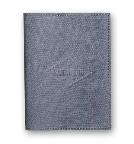Leather Passport Book - Embossed Steel