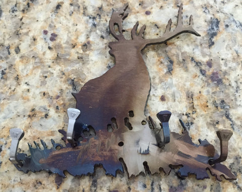 Metal Wall Art - Elk Key Rack - Necklace Holder