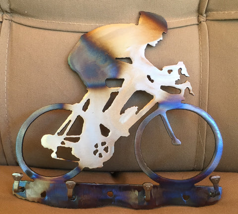 Metal Wall Art - Cyclist Key Rack - Metal Bicycle Art