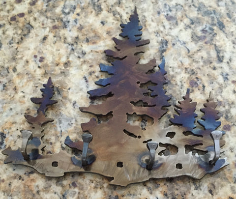 Metal Wall Art - Tree Key Rack - Metal Tree Art